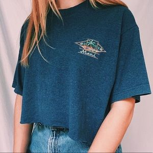 vintage cropped maui embroidered t-shirt